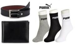 Combo Of Belt, Wallet And 3 Pairs Of Puma Socks - Men's Lifestyle