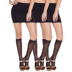Wetex Premium Pack Of 3 Ultra Thin Knee High Stockings Free Size (product Code - Khs-b-po-3)