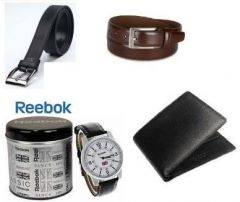 Shop or Gift Combo Of Leather Wallet And 2 Leatherite Belts With Reebok Watch Online.