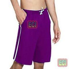 Gents Purple Shorts Jogging Nicker, Men Hosiery Cotton Bermuda Half Pant