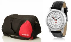 Reebok Gym Duffle Bag With Reebok White Analog Watch