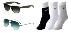 Combo of 3 Pair Nike Socks And 2 Sunglasses
