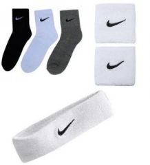 Combo Of Sports Socks Pack Of 3 Pairs White Sports Head Band & Wrist Band