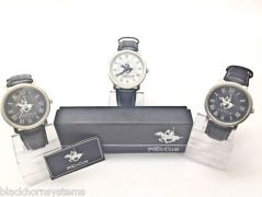 Shop or Gift (set Of 2) Ustin Polo Club Leather Strap Watches, Stainless Steel Watch Online.