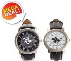 Shop or Gift Set Of 2 Ustin Polo Club Black & White Colour Round Watch Online.