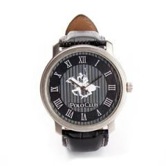 Shop or Gift Ustin Polo Club Round Leather Strap Formal Watch Black Color Online.