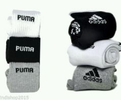 Men's Accessories - Set of 6 pairs - 3 Adidas   3 Puma logo Sports ankle length socks