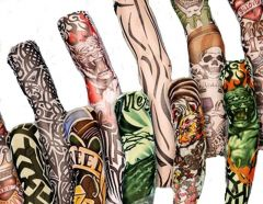 Gloves (Men's) - 5 Pairs - Wearable Tattoo Arm Sleeves Skin Cover For Sun Protection
