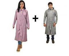 Multicoloured Women And Men Combo Long Rain Breaker Over Wear Raincoat With Carry Pouch