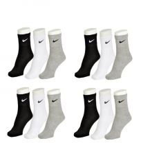 Nike Mens Cotton Multicolor Socks (12 Pair Socks-4 Black,4 White , 4 Grey) (code - Nike-4)