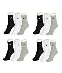 Nike Mens Cotton Multicolor Socks (18 Pair Socks-6 Black,6 White ,6 Grey) (code - Nike-6)