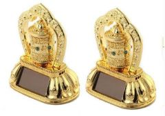 Dh Set Of 2 Solar Prayer Wheel Ornaments For Car