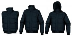 Black Quilted Teenager Jacket Hooded 3 In 1 Jacket For Boys (Detachable Hood-Sleeves)
