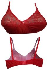Red Coloured Bra, Designed With Net Finish (Code- style Red)