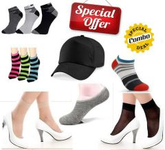 12 in 1 Combo Offers Loafer, Stockings, Ankle Socks, Bandana and Cap