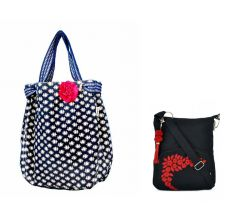 Combo of Pick Pocket Denim Blue Joli with a Pink Floral Broach with Black Small Sling Bag