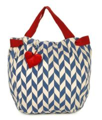 Pick Pocket Canvas Ecru with blue prints and heart shaped tassel Hand Bag Joblurhert11
