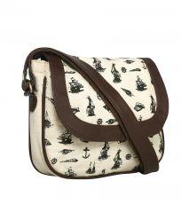 Pick Pocket Ecru Printed Canvas Sling Bag With PU Lining