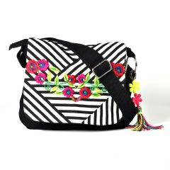 Pick Pocket Zebra Printed Canvas Bag With Floral Embroidered Canvas Sling B