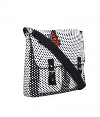 Pick Pocket Black And White Printed Canvas Sling Bag With Orange Butterfly