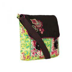 Pick Pocket Lime Green Bag With Black Embroidered Flap Canvas Sling Bag