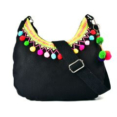 Pick Pocket Black Canvas Sling Bag With Multi Coloured Pom Pom