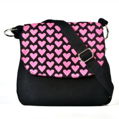 Pick Pocket Purple Top Black Canvas Sling Bag