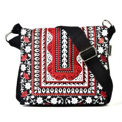 Pick Pocket Red Aztec Printed And Embroidered  Flap Red Canvas Sling Bag