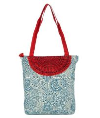 Pick Pocket Canvas Accrue blue and red Tote with semicircle Hand Bag Toblurcircle9