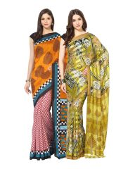Fostelo Bollywood Designer Red & Green Saree (Pack Of 2)