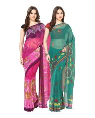 Fostelo Bollywood Designer Pink & Green Saree (Pack Of 2)