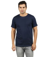 AALRYT Navy Solid Round Neck T-Shirt