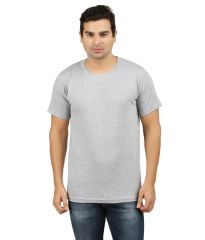 AALRYT Gray Solid Round Neck T-Shirt