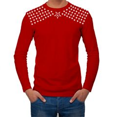 AALRYT RED Full Sleeve Cotton T Shirt-GFLV.RED