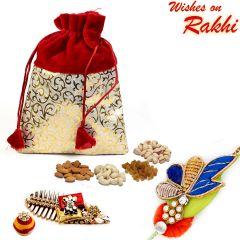 Aapno Rajasthan Red & Golden Velvet Touch Dry fruit Pouch and Rakhi Hamper - MB1715