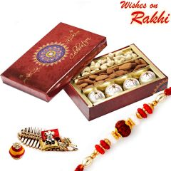 Rakhi for UK - Decorated Box of Kaju Laddoos, Cashews, Almonds and Rakhi - UK_MB1731