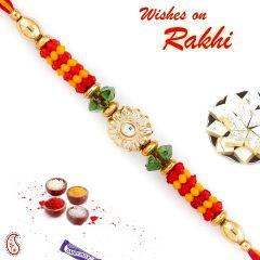 Aapno Rajasthan Floral Motif & Beads Studded Mauli Thread Rakhi - PRS1746