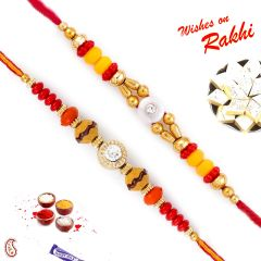 Rakhi for Abroad_Aapno Rajasthan Set of 2 Red & Yellow Beads AD Studded Rakhi - INT_PST17250