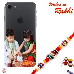 Aapno Rajasthan Customized Mobile Back Cover for Redmi Phone with Rakhi - RCUST1730 Rakhi with 200 Gms Kaju Katli