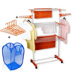 Kawachi Easy Mild Steel Power Dryer Cloth Drying Stand With Laundry Basket Bag & 6 pcs Hanger Combo