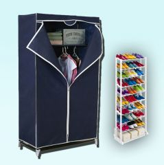Kawachi Single Door Space Saving Foldable Wardrobe And  Amazing Shoe Rack