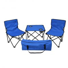 Kawachi Folding Camping Picnic Outdoor Garden Party Bbq Dining Coffee Kitchen Foldable Table And Two Chair For Fishing-k357-blue - New Arrivals