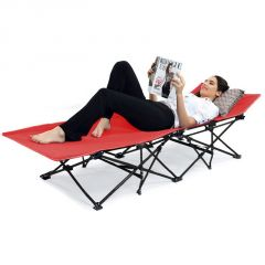 Kawachi Portable Folding Camping Bed Beach Bed With Carry Bag Outdoor Camping Furniture-K358 Red