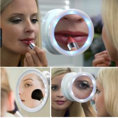 Kawachi Magnifying Glass Travel Makeup Mirror LED Lights Swivel Brite Cosmetic Tool Bath mirror portable mirror