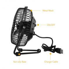 Kawachi Home Accessories - USB Fan Mini Portable Desktop Cooling Desk Quiet Fan For Computer Laptop Pc-Black