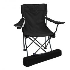 Folding Camping Chair Portable Fishing Beach Outdoor Collapsible Chairs-Black