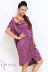 FASENSE SATIN PURPLE 2PC SET ROBE & NIGHTY