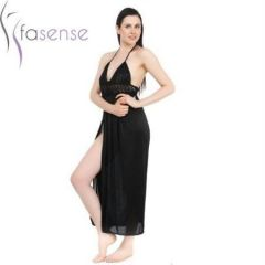 FASENSE SATIN BLACK 2PC SET ROBE & NIGHTY DP043 B