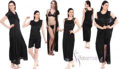 Fasense Women 6 pcs set Nightwear set nighty robe top barmuda sleepwear