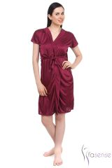 FASENSE SATIN WINE 2PC SET ROBE & NIGHTY DP045 C